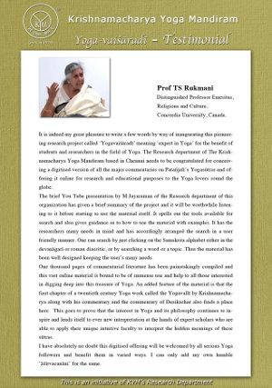 A testimonial by Prof. TS Rukmani