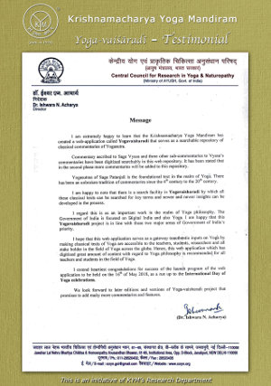 A testimonial by Central Council for Research in Yoga and Naturopathy